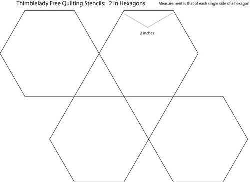 2 inch hexagon quilting stencil for Hexagon templates for quilting free